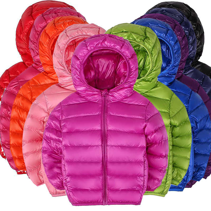 HH Children's winter jackets Warm hooded Duck down jacket for girl Parkas teenage jackets boy outerwear Size2 10 12 13 14 years
