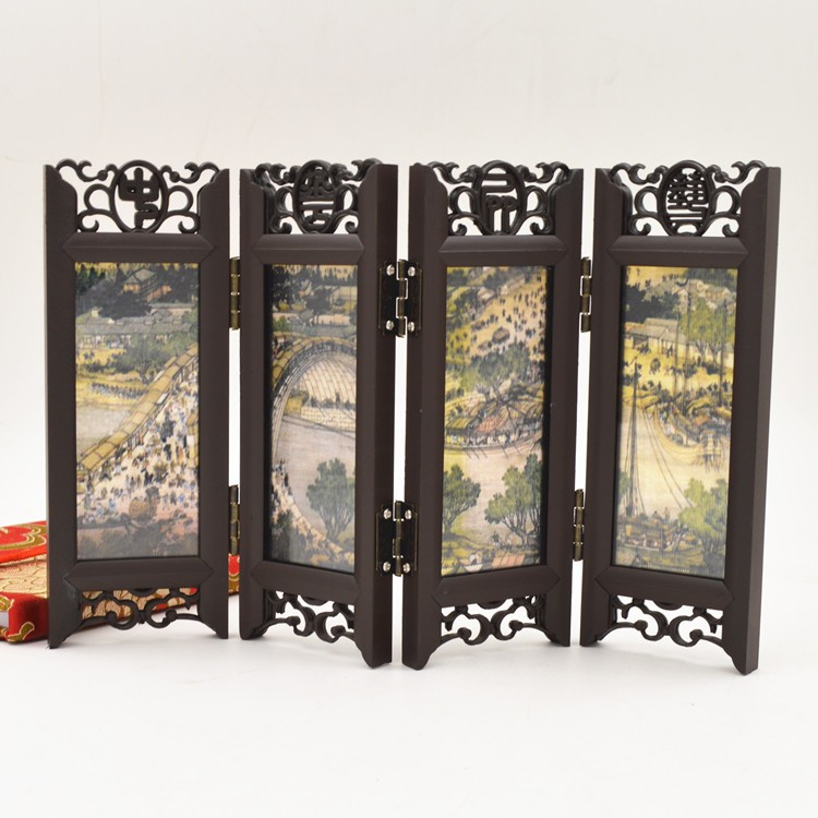 Chinese woodcarving screen, Qingming River painting, painting and calligraphy, decorative crafts