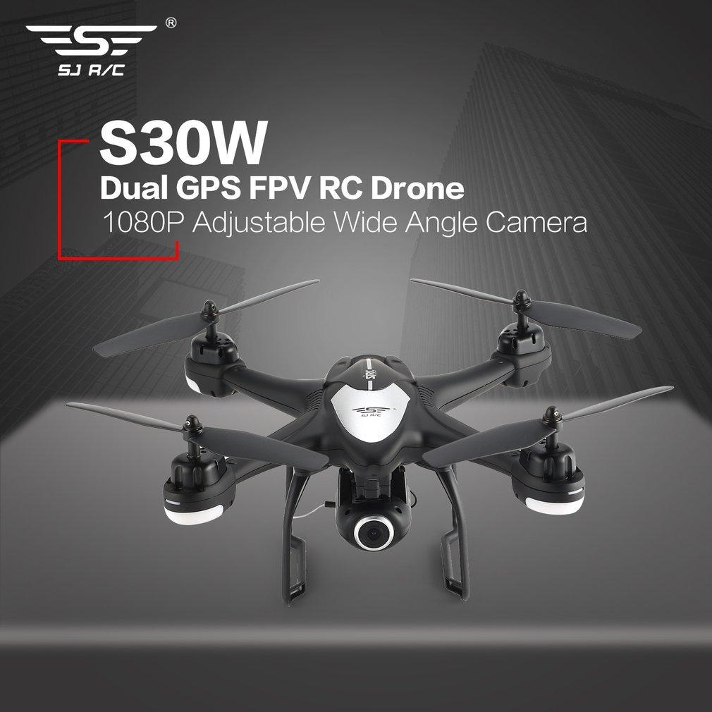 SJ R/C S30W Drone avec 1080 p Caméra 2.4g Double GPS Positionnement FPV RC Quadcopter Réglable Large angle Wifi Suivez-moi Planant