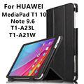 Case Кожа Для Huawei MediaPad T1 10 Подлинная Защитные Смарт Кожаный чехол Таблетка Для HUAWEI Note9.6 T1-A21W T1-A23LProtector