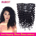 Deep Wave Human Hair Clip in Curly Hair Extensions 10pcs Virgin Peruvian Remy Clip in Hair Extension Natural Black 100g-120g