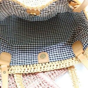 Image 4 - Tkactwo wytłaczany papier torba ze słomy torba na ramię torba na plażę dla kobiet, torba podróżna dla kobiet moda damska na co dzień