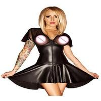 2017 Sexy Women Party Fancy Mesh Dress Costumes Wet Look Black PVC Faux Leather Dress Nightclub