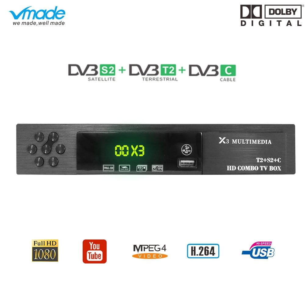 Vmade DVB T2 S2 DVB C 3 in 1 Combo HD Digital Terrestrial Satellite Receiver MPEG