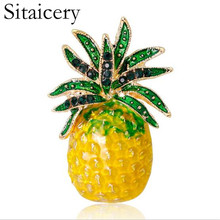 Sitaicery Rhinestone Inlay Enamel Pineapple Brooches For Women Cute Fruit Fashion Brooch Pin Dresses Coat Corsage Broches Gift
