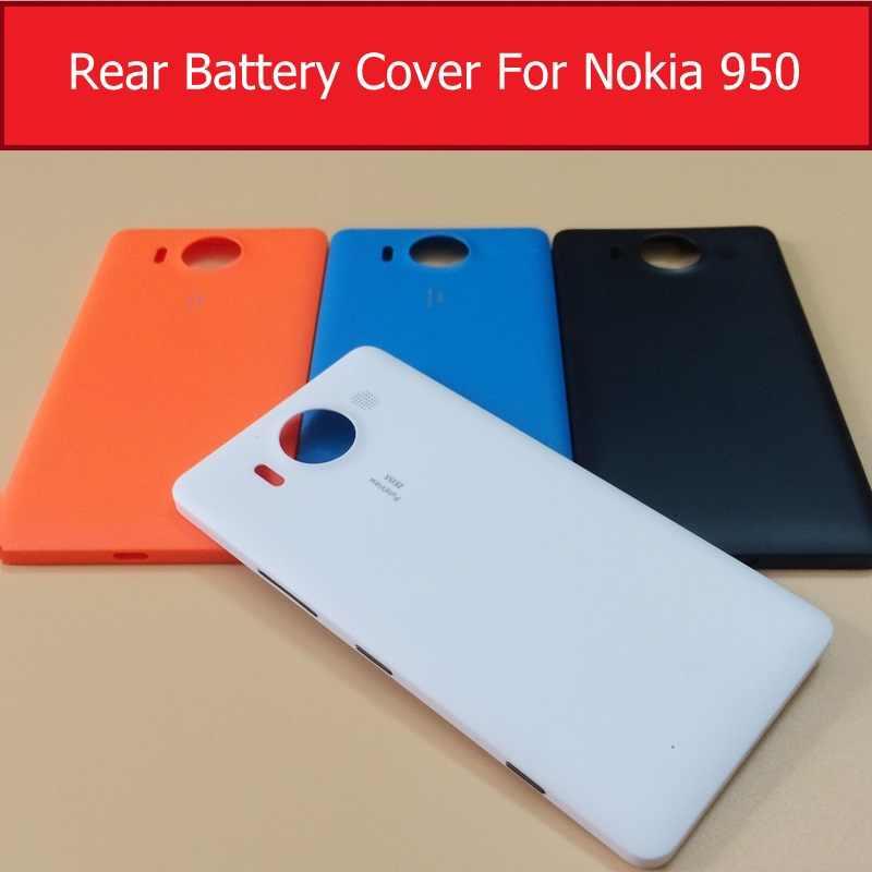 حقيقي الباب الخلفي البطارية الإسكان لنوكيا 950 الغطاء الخلفي Microsoft lumia 950 الغطاء الخلفي للقضية 1 قطعة شاشة مجانية