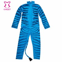 6XL 7XL Plus Size Long Sleeve Blue Zebra Catsuit With Tail A FAN DA Cosplay Costume