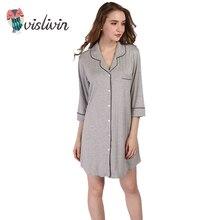 Vislivin поступления Модальные Ночные сорочки мягкие домашние платье сексуальное ночное Для женщин пижамы сплошной сна Lounge кардиган