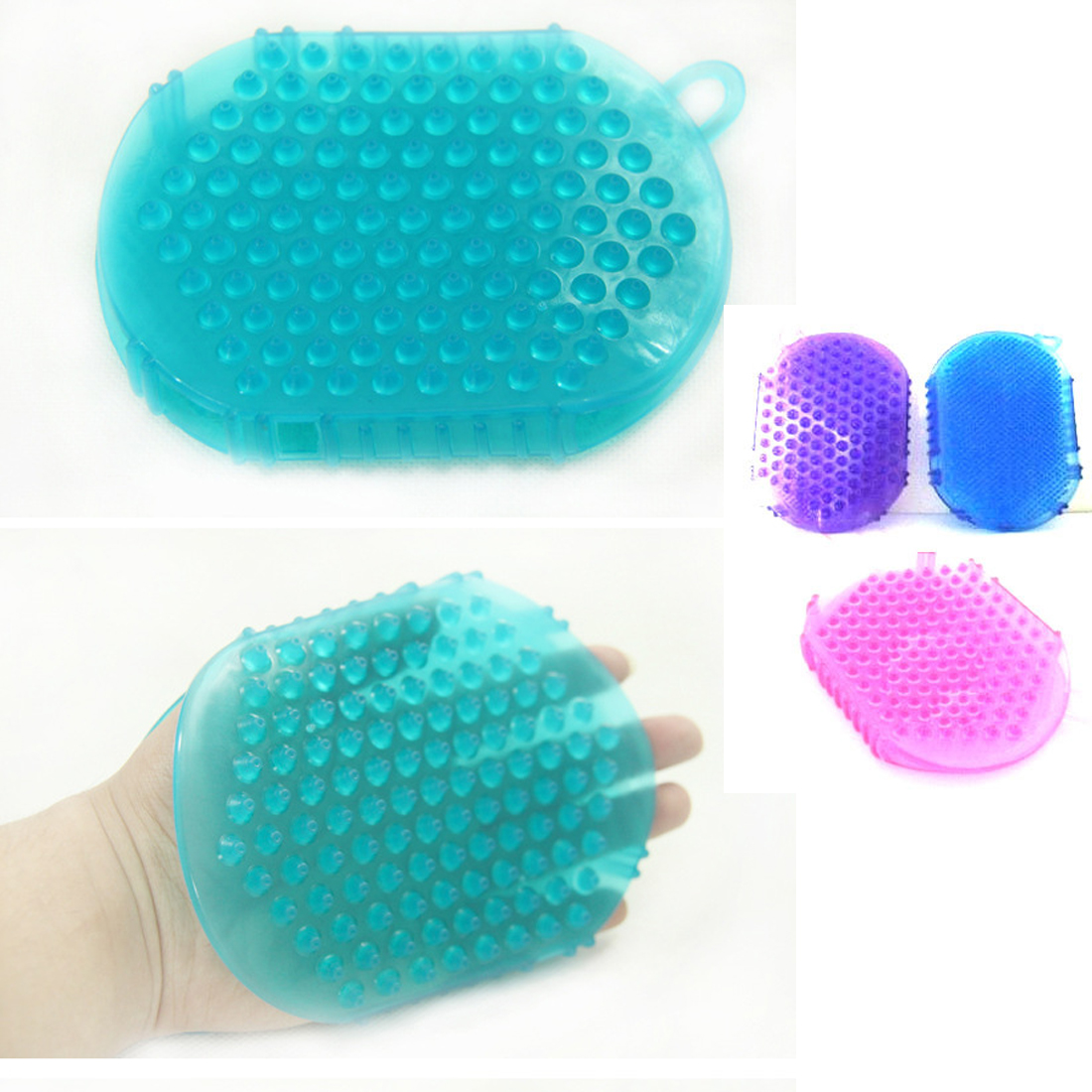 New 1 PCS Silicone Double Sided Massage Lymph Glove Anti Cellulite Slim Body Bath Shower Scrub Brush Random Colors