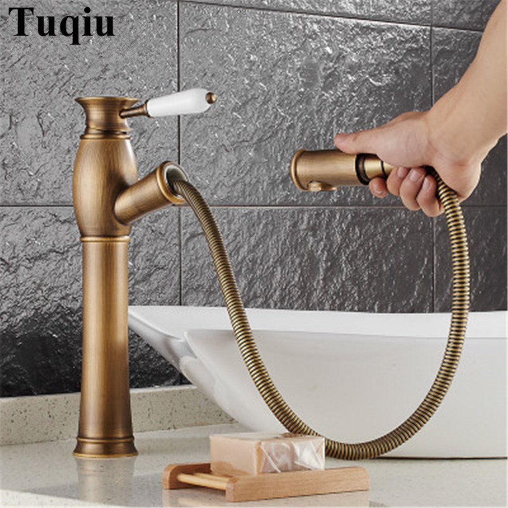 Antique Copper Basin sink Faucet Pull Out spray spout Hot & Cold Water Tap antique brass bathroom basin mixer luxury water tap contemporary faucet jade and brass copper pull out basin faucet gold sink faucet pull out spray spout hot