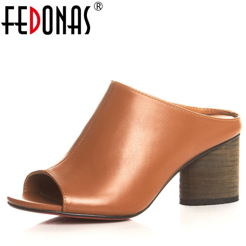 FEDONAS Summer Ladies Sandals Luxury Genuine Leather Shoes High Heeled Slippers Women Rome Style Open Toe Mules Slippers fedonas sexy pointed toe women genuine leather pumps close toe summer shoes mules high heeled sandals sexy women slippers
