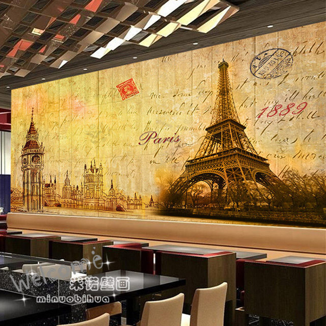 Custom 3d Mural Wallpaper Vintage British Cafe Bar KTV Nostalgic Paris Tower Library Museum