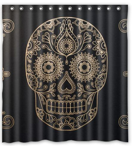 Customized Day of the Dead Sugar Skull Shower Curtain Waterproof ...