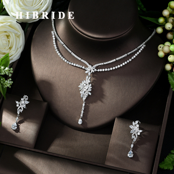 HIBRIDE Hot-sale African 2pcs Bridal Jewelry Sets New Fashion Dubai Jewelry Set for Women Wedding Party Accessories Design N-996