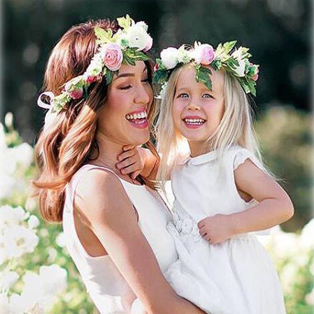 Rose Flower Crown Wreath Headband For Baby Girl And Mom Wedding
