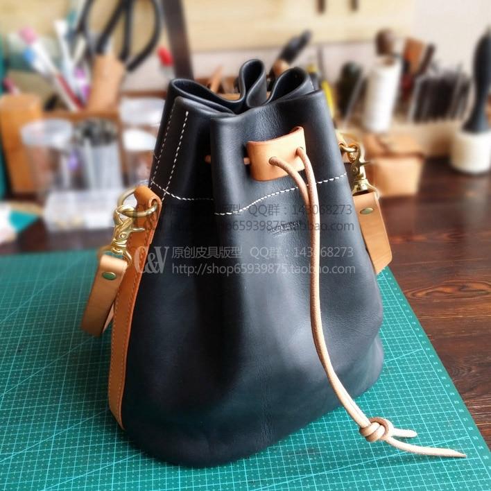 803549fdfb5b DIY ручной работы Повседневная кожаная сумка-мешок рисунок черный DIY сумка  рисунок  B-019  DIY Сумочка материалы