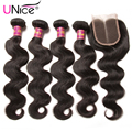 Grade 7A Indian Body Wave with Closure UNice Hair Company Lace Closure with Bundles 5pcs/lot Soft Indian Human Hair with Closure