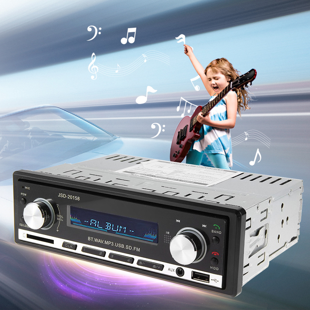 Prix pour Voiture Lecteur MP3 Voiture Audio Stéréo Au tableau de bord FM Entrée Aux Récepteur SD USB MP3 MMC WMA 12 V Bluetooth V2.0 JSD-20158 Voiture Radio lecteur
