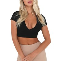 Sexy Women Tank Top Ladies Camisole Short Sleeve Vest Backless Tops Hollow Out  Feminino Crop Top 3 Color