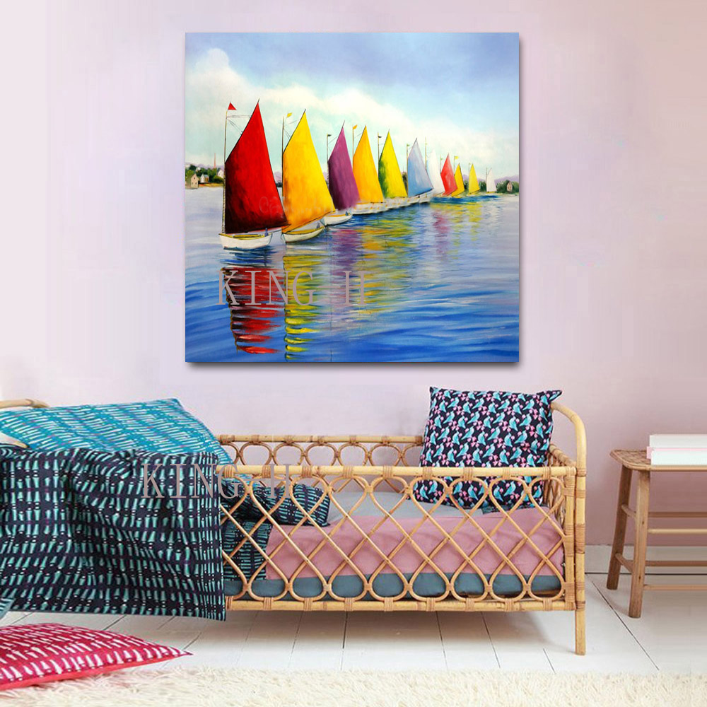 Hand painted oil painting the landscape of the custom Seascape of modern ocean ship landscape decoration bedroom hotel hall in Painting Calligraphy from Home Garden