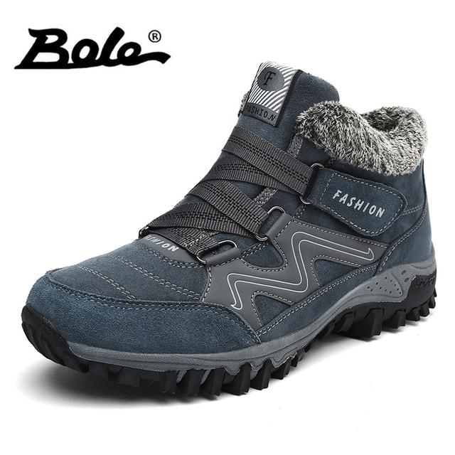 BOLE tamaño 36-46 Hombres Calientes zapatos casuales nieve más algodón mantener caliente hombres zapatos casuales de alta calidad hombres zapatillas de tacón alto