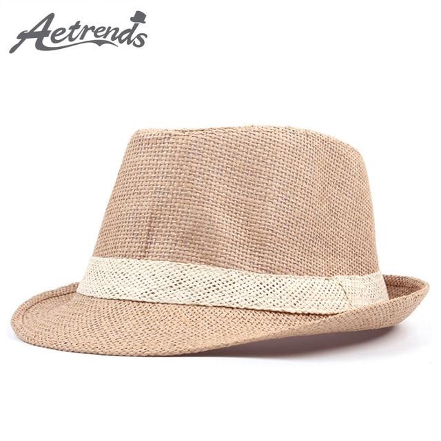 AETRENDS 2018 nuevo verano de paja sombreros para hombres y mujeres de  Jazz de playa 462f7ed794d6