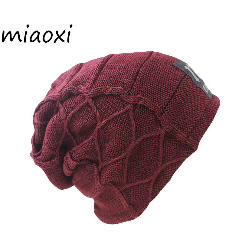miaoxi New Promotion Men Warm Knitting Fashion Winter Hat For Man Caps Cap Casual Beanies Hip Hop Wool Knitted Skullies Gorro the new children s cubs hat qiu dong with cartoon animals knitting wool cap and pile