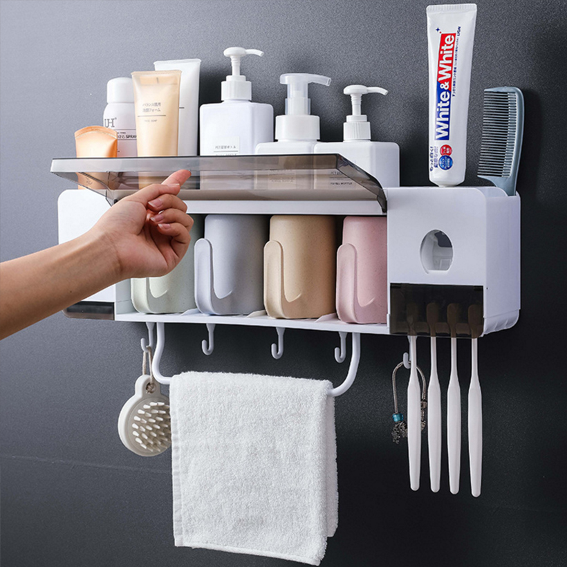 TREESMILE Toothbrush Holder Multifunctional Bathroom Toothbrush Storage Box Punch Free Storage Rack Household Goods D40