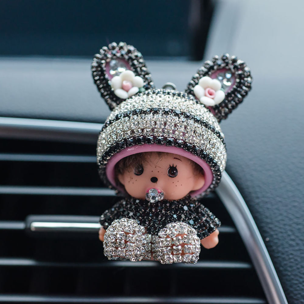 Car Ornament Diamond Decor Automobile Vent Perfume Clip Air Freshener For Monchichi Doll Auto Interior Fragrance Smell Diffuser car outlet perfume air freshener with thermometer lime