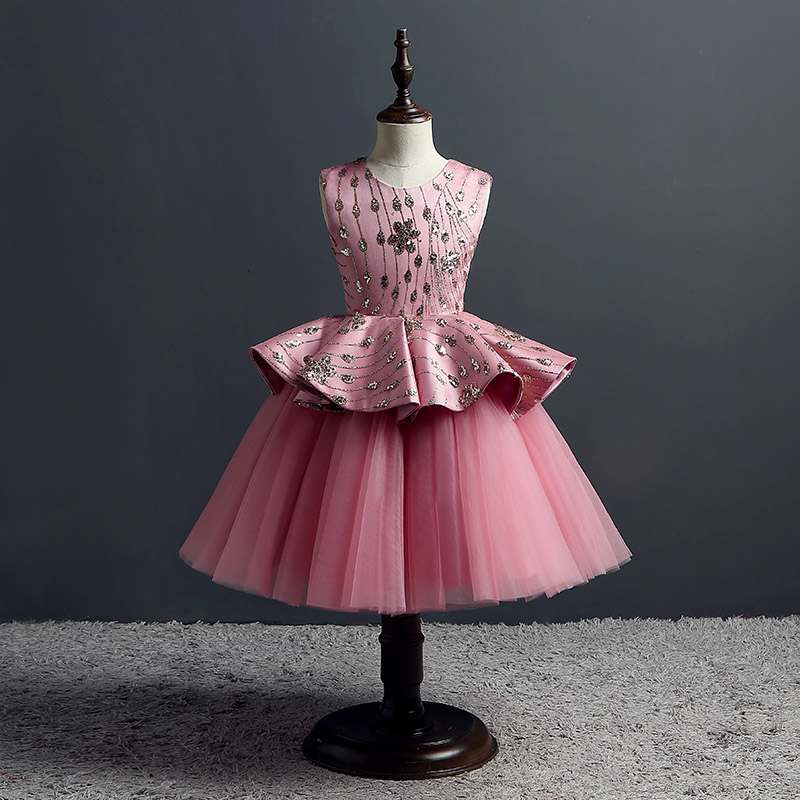Ball Gown Princess Party Dress Sequined Embroidery Flower Girl Dresses Wedding Layered Kids Pageant Dress Girls Evening Gowns пиджак cacharel пиджак
