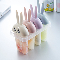 4cases straight rows Cute small white rabbit style DIY ice cream mould 14*15cm Free shipping