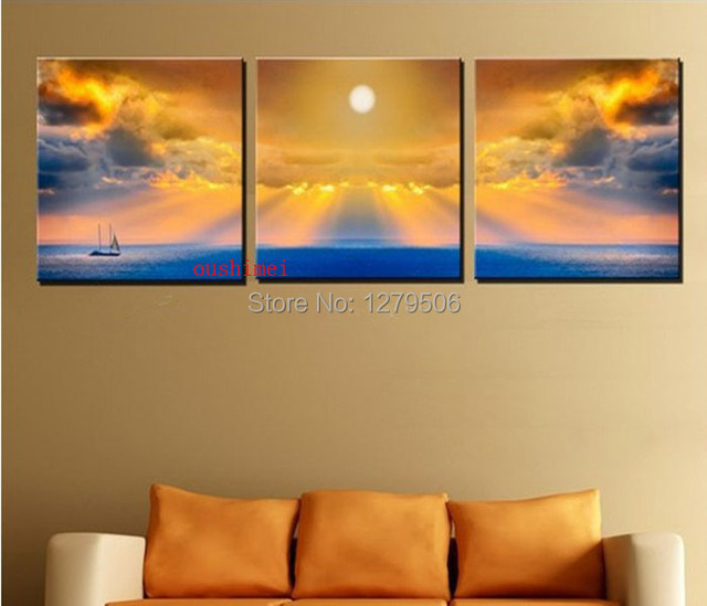 3 Panel Seascape Free Shipping Hot Sell Modern Wall Painting Sunset  Landscape Home Wall Art Pictures
