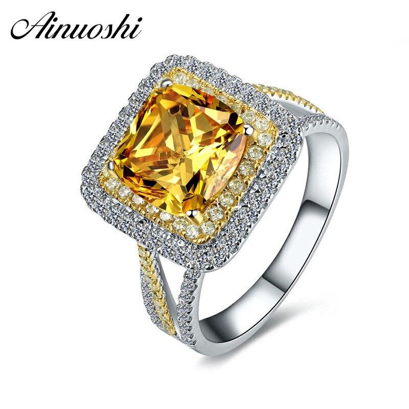AINUOSHI naturel Citrine jaune Halo anneau 2.5ct coussin coupe gemmes fiançailles fête femmes bijoux 925 Sterling argent carré anneau