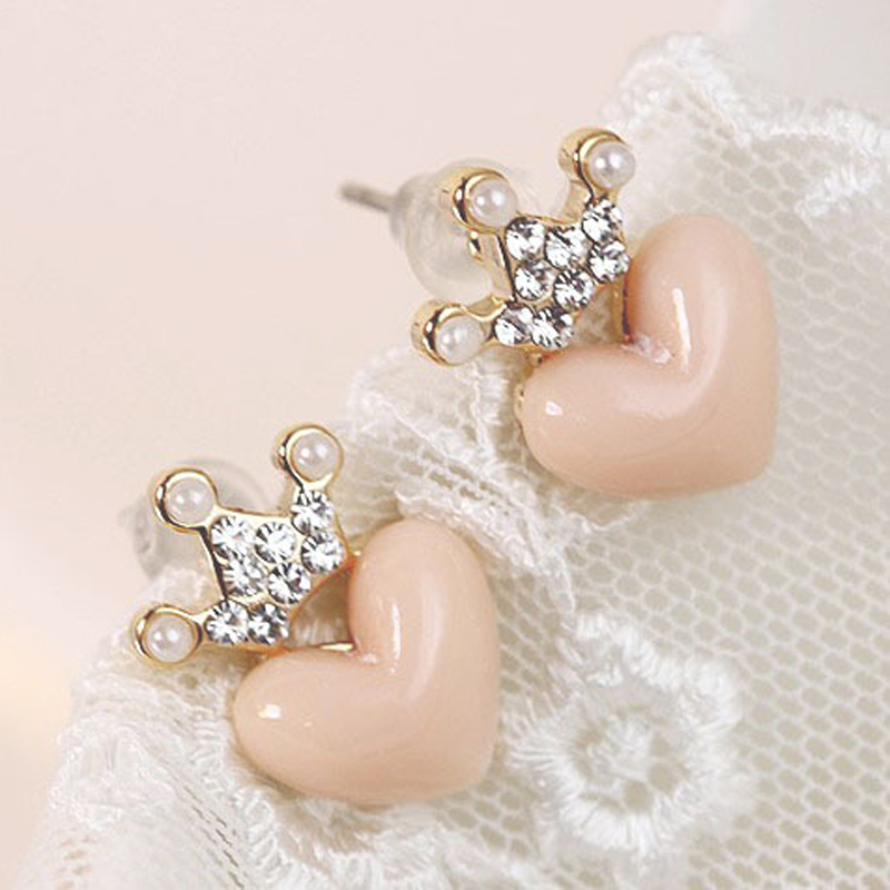 Hot 1 Pair Lady Women Girl Elegant Pink  Heart Shape Crown Earrings Crystal Ear Studs Jewelry Gifts