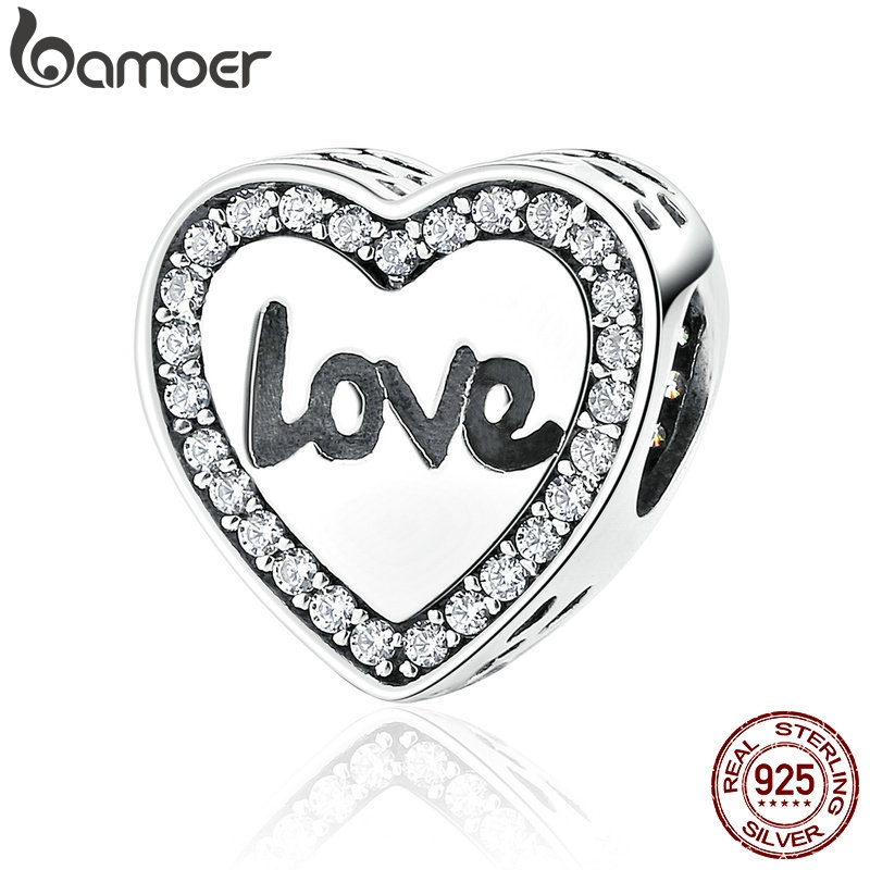 BAMOER 4 Styles 925 Sterling Silver Love Heart Life Round Alphabet Charms Fit Bracelets Necklaces Women Fashion Jewelry SCC089BAMOER 4 Styles 925 Sterling Silver Love Heart Life Round Alphabet Charms Fit Bracelets Necklaces Women Fashion Jewelry SCC089