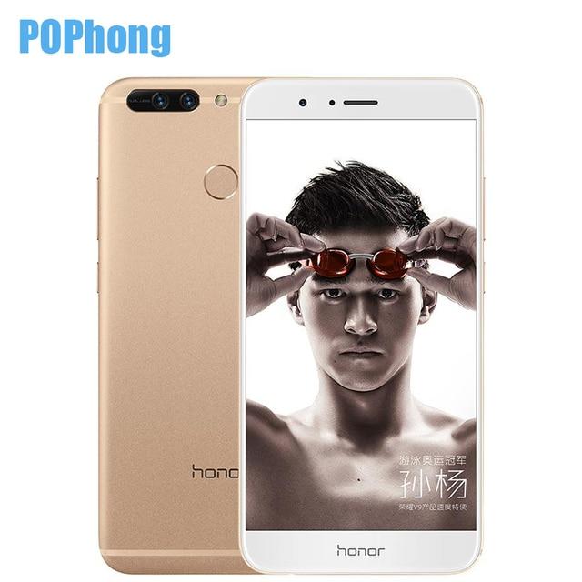 Оригинал huawei honor v9 мобильный телефон 5.7 дюймов 4 ГБ ram 64 ГБ ROM 2 К Экран Dual SIM Кирин 960 Окта основные Android 7.0 QuickCharger