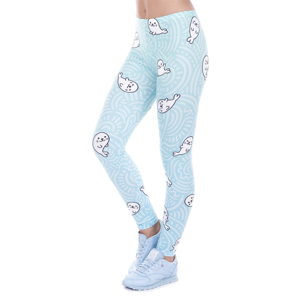 Sexy Legging White Seal Lovely Print High Elasticity Trousers Legins Women Leggings Woman Pants 100% Brand New