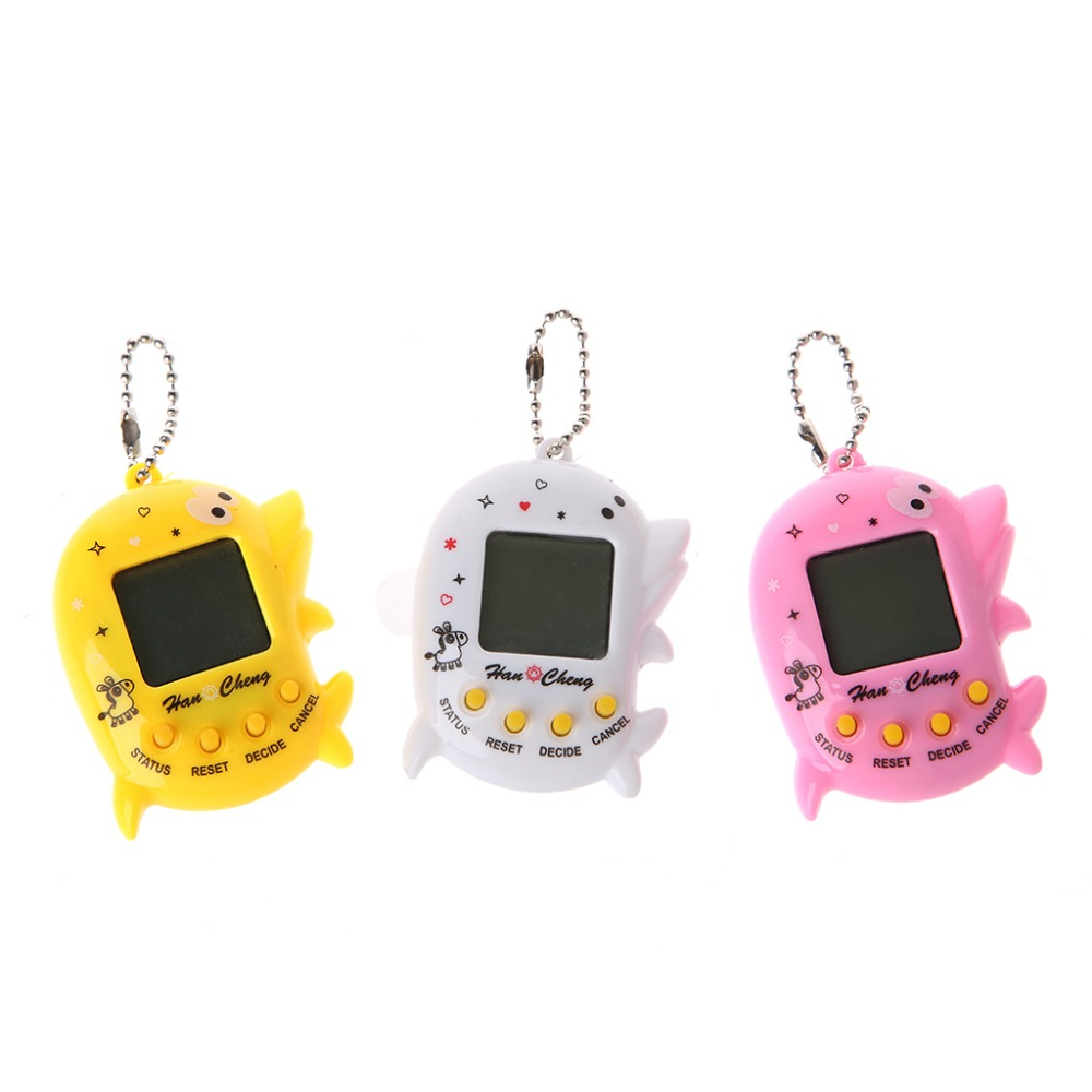 Dolphin Shape LCD Virtual Digital Pet Electronic Game Machine With Keychain For Children Handheld Game Machine