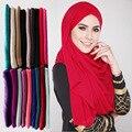 Llano Sólido Elástico Abaya Maxi Jersey Hijab Mantones Capes 2017 Cabeza Cubierta de Algodón de La Manera Delgada Wrap Snood Bufandas Sjaal Musulmán