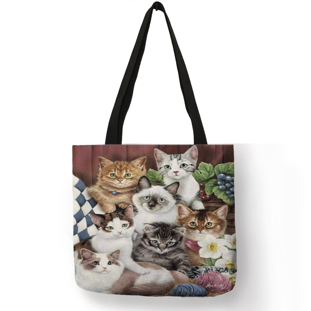 Multi-function Eco Large Casual Grocery Shopping Tote Bag Cartoon 3D Cute Cat Printing Lady Reusable Foldable Daily Hand Bag 2