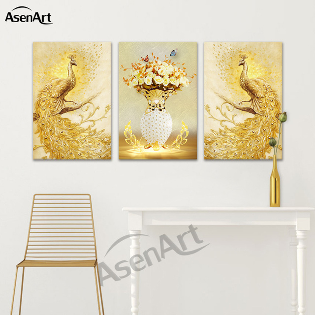 Canvas Print Wall Art 3D Effect Pictures Animal Golden and Blue ...