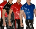 Hot Sale !!!! Nature Latex Men's Shirt Skin Tight Latex Zentai Polo-shirt 0.4MM Thickness High Quality