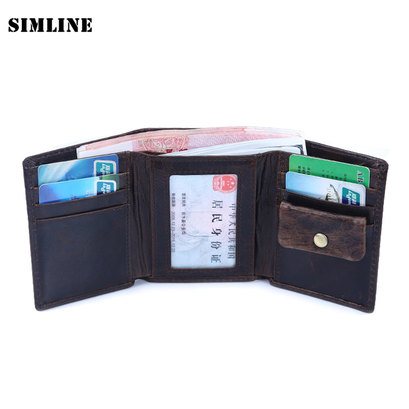 все цены на High Quality Amazon Brand Vintage Casual 100% Real Genuine Leather Cowhide Men Tri-fold Wallet Purse Card Holder Wallets For Men