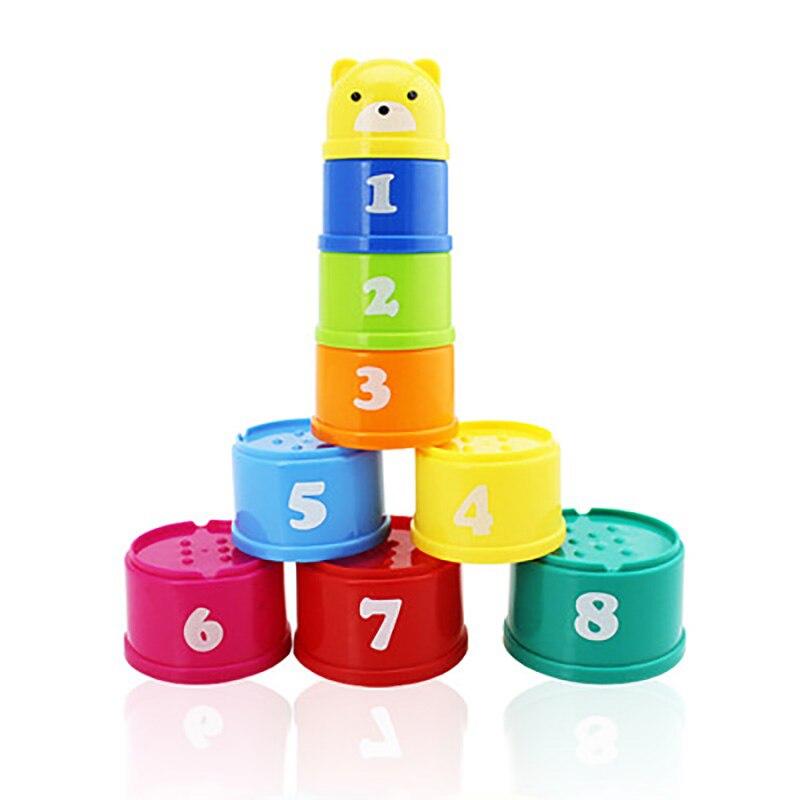 9 Teile/satz Pädagogisches Baby Spielzeug Zahlen Letters Turm Cartoon Bär Fun Folding Turm Mit Mesh Tasche Kind Frühen Intelligenz Geschenk Bequem Und Einfach Zu Tragen