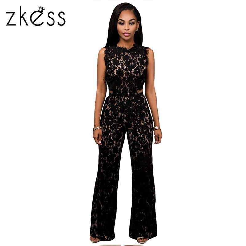 Zkess Black Lace Jumpsuit Long Pants Women Rompers Sexy Club Ladies 2017 Belted Solid Elegant Female