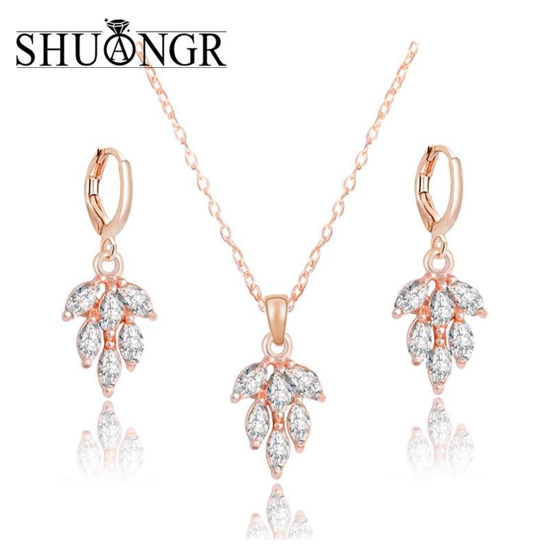 b1e880969ada Shuangr 1 Unidades oro color moda Juegos de joyería mujeres blanco cubic  zirconia colgante collar Pendientes Partido de la joyería