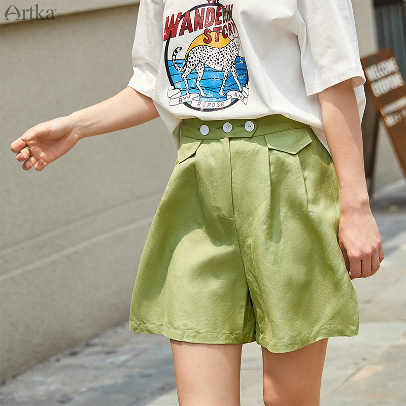ARTKA 2019 Summer New Women's Shorts Loose Comfortable Multicolor Shorts Fashion High Waist Casual Wide Leg Shorts KA10693X
