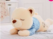 cute creative lying bear toy plush squinting blue cloth bear doll gift about 60cm