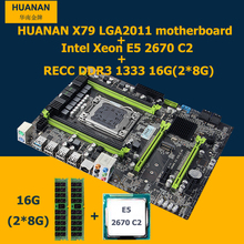 HUANAN motherboard CPU kit version 2.49 Intel X79 LGA 2011 motherboard mit CPU Xeon E5 2670 C2 SROKX (2*8G) 16G DDR3 REG ECC