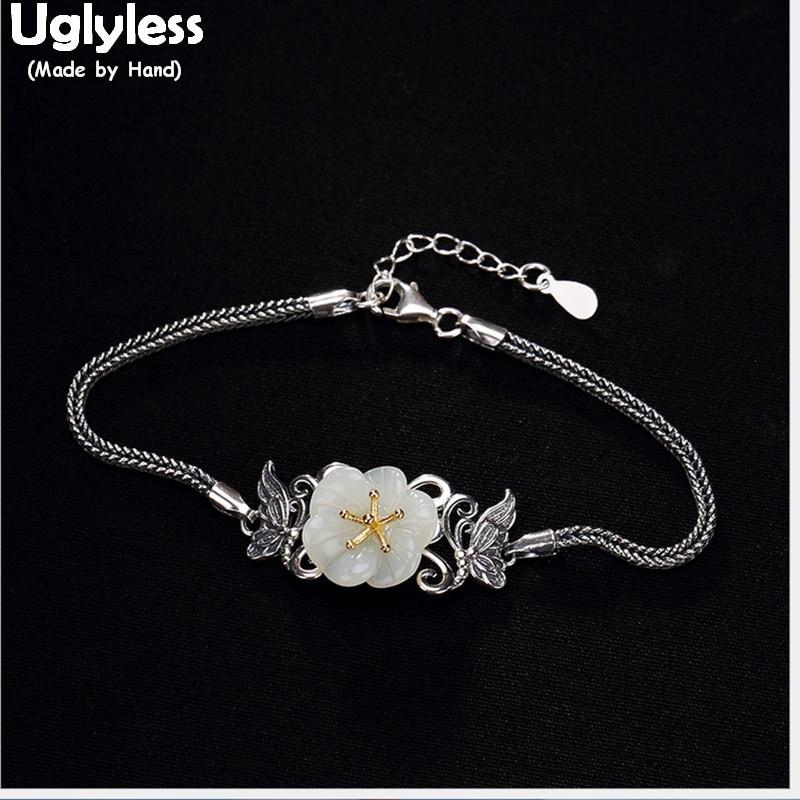 купить Uglyless Real S 925 Sterling Silver Jewelry Romantic Plum Flower Bracelet Natural White Jade Women Bracelets Snake Chains Bijoux недорого